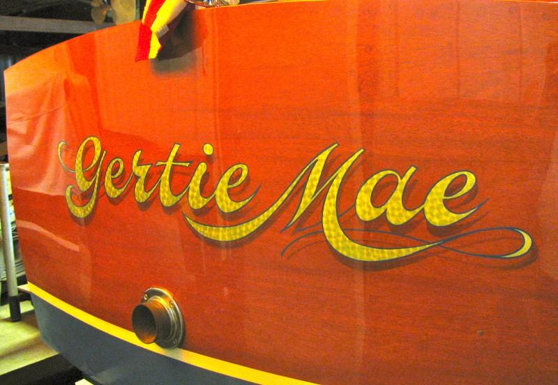 Gold Leaf Boat Lettering