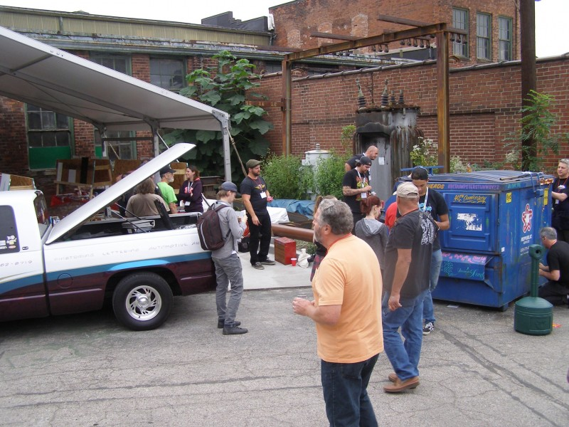 My Classic Hand Pinstriping Class with Tod Hanson. The classes final exam, attacking a dumpster.